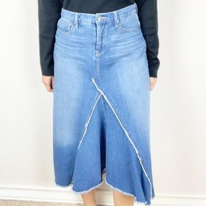 Nine West denim high low raw hem skirt